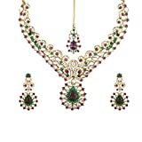 Tohfa Planet White And Green Necklace Set For Women