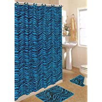 Zebra Skin Blue Print Bathroom Rug Shower Curtain Mat / Rings