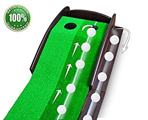Putting Aid Golf Indoor Putting Mat ? Automatic Golf Putting Practice Training Aid ? Premium Wooden Putting Green for Executive Level Playing ? 100% Money Back Guarantee