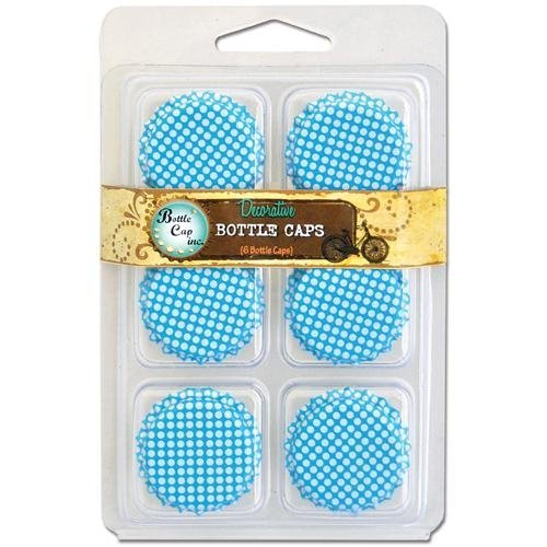 "Vintage Collection Double Sided Bottle Caps 1"" 6/Pkg-Polka Dot Aqua Blue W/White"