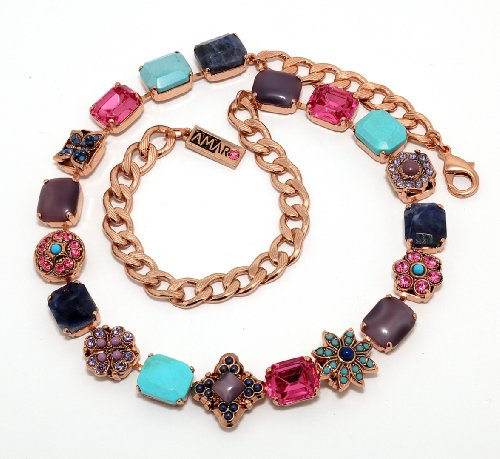 Amaro Jewelry Studio 'Indigo' Collection 24K Rose Gold Plated Necklace Set with Flower and Star Elements, Chrysocolla, Lapis Lazuli, Abalone, Turquoise, Amethyst and Swarovski Crystals