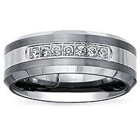 Tungsten Carbide Diamond Mens Wedding Band .20CTW