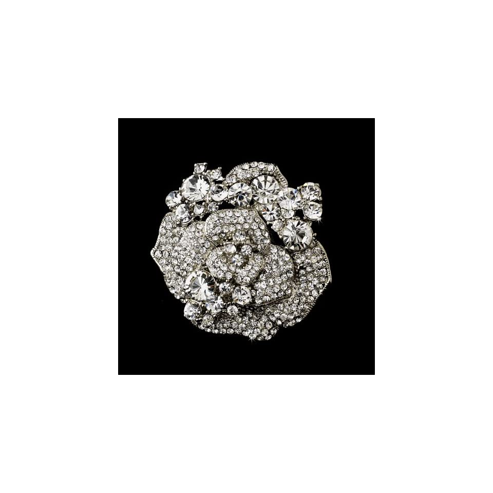 Silver Crystal Rose Bridal Brooch Pin Hair Clip Jewelry