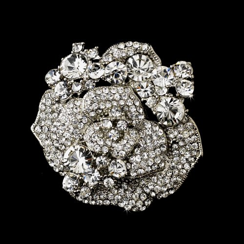 Silver Crystal Rose Bridal Brooch Pin Hair Clip
