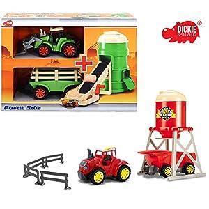 Dickie Farmspielset mit Traktor, Anhänger und Silo, mit Licht und Sound, 28 cm || Spielzeug Traktor mit Anhänger Bauernhof Spiel Set Spieltrecker Freilauf Trecker