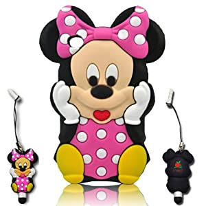 I-need 3d Cartoon Mouse Soft Silicone Case Cover with 3d Anti-plus Minnie Pen for Ipod Touch 4/4g/4th Generation - Hot Pink