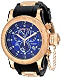 Invicta Russian Diver Swiss Made Men's Quartz Watch with Blue Dial Chronograph Display and Rose Gold Plated Stainless Steel and Black PU Strap 15568