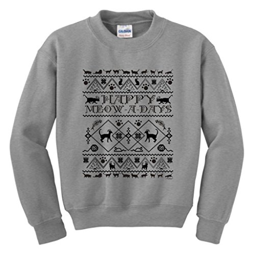 Happy Meow A Days Ugly Christmas Sweater With Cats Youth Crewneck Sweatshirt Xl Sport Grey