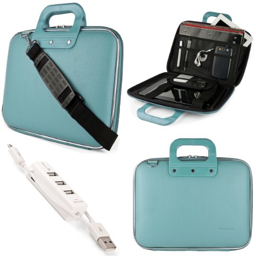 Blue Sumaclife Cady Semi Hard Case W/ Shoulder Strap For Asus K52 Series 15.6-Inch Notebook + Kallin Universal 3 Port Usb Hub With Micro Usb Charger Cable