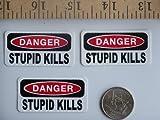 3 - Danger Stupid Kills Hard Hat / Helmet Stickers 1