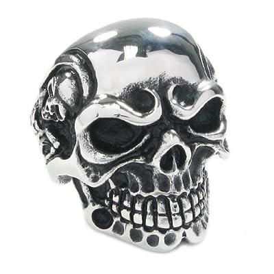 Stainless Steel Creepy Skull Skeleton Men Biker Ring from Kaon
