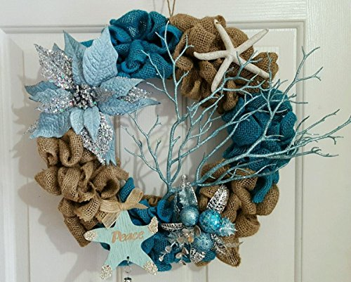 Nautical Winter Holiday Burlap Wreath 17""
