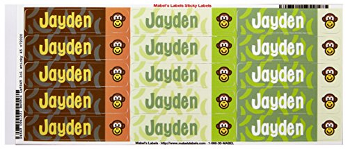 Mabel'S Labels 40845057 Peel And Stick Personalized Labels With The Name Jayden And Monkey Icon, 45-Count front-836343