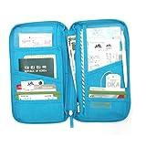 Foxnovo Multi-functional Handy Travel Passport Holder Card Holder Zippered Wallet Handbag Organizer (Blue)
