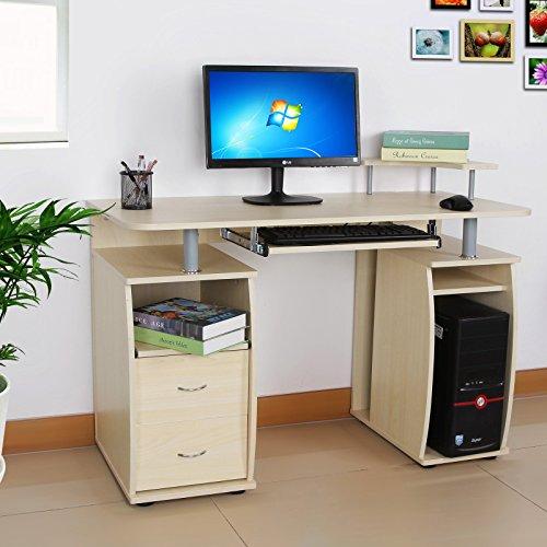 Songmics Scrivania per computer Scrivania ufficio porta PC Tavolo per Computer Con Ripiani Tastiera Scorrevole Naturale LCD851N