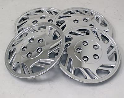 TuningPros WSC-126C15 Chrome Hubcaps Wheel Skin Cover 15-Inches Silver Set of 4