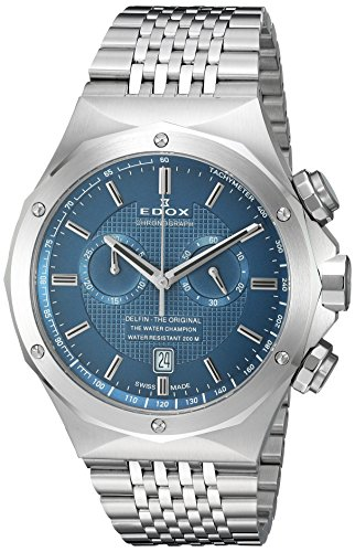 Edox-Mens-10108-3-BUIN-Delfin-Analog-Display-Swiss-Quartz-Silver-Watch