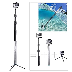 "Smatree SmaPole S3C Carbon Fiber Detachable and Extendable Floating Pole (12.5""-39.5"") with Tripod Stand for Cameras"