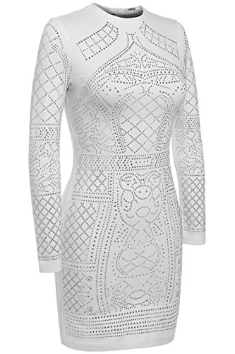 Meaneor Women's Sexy Long Sleeve O-Neck Diamond Pattern Sequined Cocktail Dress White M