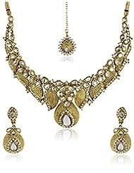 Shining Diva Kundan Leafy Design Necklace Set With Mang Tika