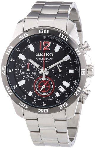 Seiko Chronograph Black Dial Stainless Steel Mens Watch Ssb129