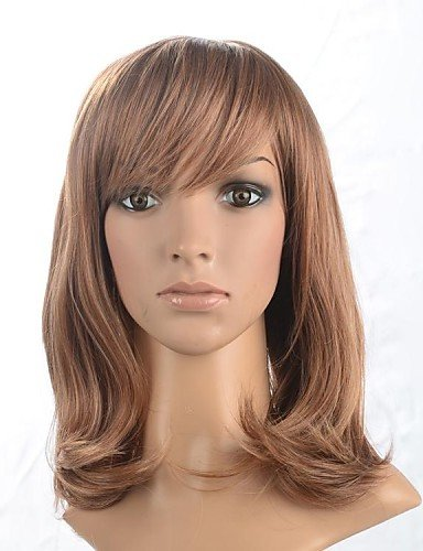 Wigs have an attractive convenience fashion Capless Medium Length Synthetic Wig with Side Bang