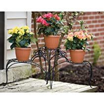 Panacea Classic Finial Three Shelf Plant Stand, Black, 15-Inch