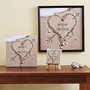 Personalized Engagement Gifts - Heart in Sand Canvas Wall Art