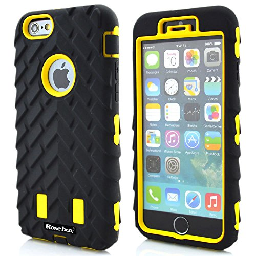 RoseBox® iPhone 6 Plus Case Apple iPhone 6 Plus Case 5.5 Case Inch Dual Layer Hybrid Hard Soft Combo Silicone Tire Stripe Protective Bumper Case for Apple Iphone 6 plus(5.5 inch) (Black &Yellow Tire Stripe case)