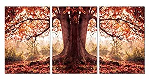 "Red Autumn. 41""x20"" Ready to Hang. Contemporary Art, Modern Wall Decor, 3 Panel Wood Mounted Giclee Canvas Print. B1172"