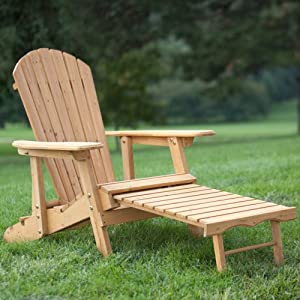 Big Daddy Reclining Adirondack Chair with Pull Out Ottoman- Natural from Weicheng (HK) Industrial Trade Co Ltd