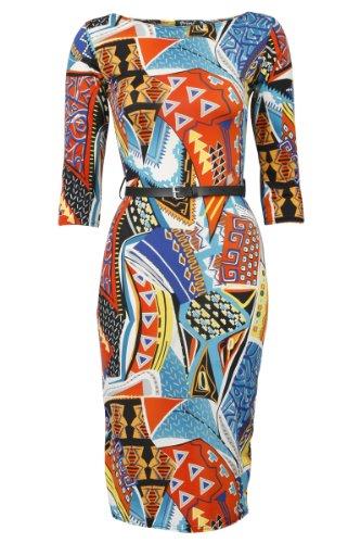 35L New Womens Geometric Print Ladies 3/4 Sleeved Belted Midi Dress