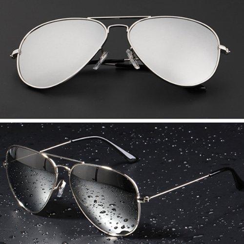 Mode Sonnenbrille für Damen und Herren,reflektierende Sonnenbrille,Gradientfarben (silber)