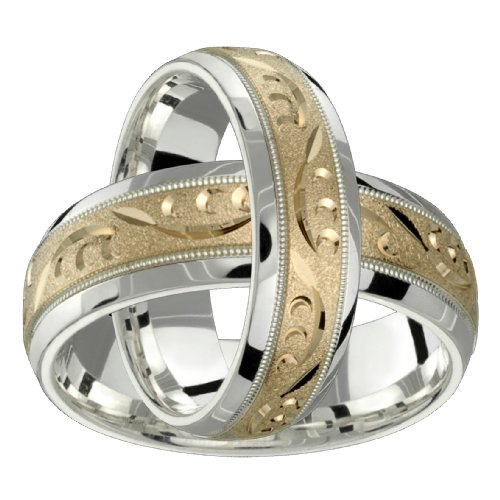 Delana &#8211; Stunning Two Tone Comfort Fit Wedding Band for Him &#038; Her! Custom Made! Choose your Size.
