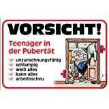 pst schild vorsicht teenager in der pubert t mit bild schild. Black Bedroom Furniture Sets. Home Design Ideas