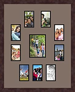 Art to Frames Double-Multimat-400-748/89-FRBW26061 Collage Frame Photo Mat Double Mat with 9 - 3x5 and 1 - 5x7 Openings and Espresso frame