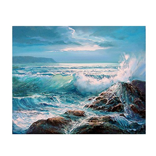 Whitelotous Sea Waves Scenery 5D Diamond Painting Embroidery DIY Paint-By-Number Kit Home Wall Decor 16 x 12 Inch