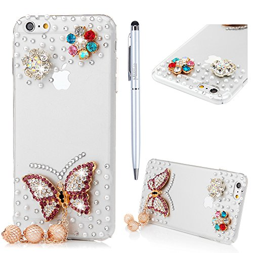 Custodia iPhone 6 Plus / 6s Plus,Trasparente Fatto a mano 3D Glitter Bling Strass Cover Rigida Plastica Hard - MAXFE.CO Case Cristallo Diamante Plastica PC Duro Protettiva - Farfalle, fiori, Perla