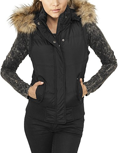 Urban Classics Ladies Hooded Fur Vest, Gilet Sportivo Donna, Nero (Black 7), 40