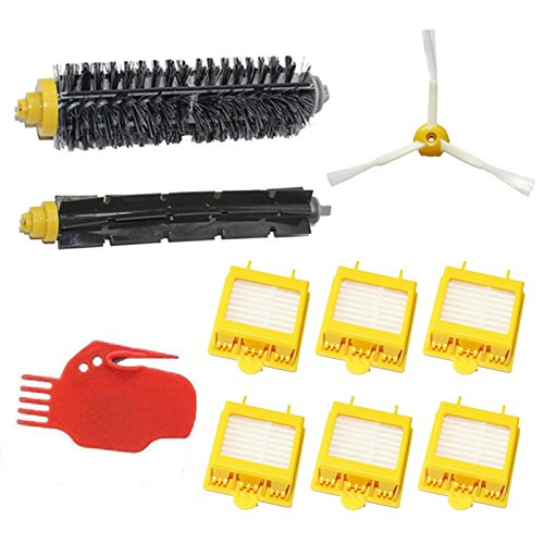 Shp-Zone Vacuum Cleaner Accessory Kit Replacement -Kit Includes: 6 Hepa Filters, 1 Side Brush 3-Armed, 1 Flexible Beater Brush, 1 Bristle Brush , 1 Cleaning Tool For Irobot Roomba 700 Series 760 770 780 790 front-556177