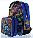 Justice League 15 Backpack with Lunch Bag - Superman, Batman, Green Lantern and Flash