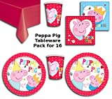 Peppa Pig Party Supplies Pack for 16 - Includes 16 cups, 16 plates, 16 Napkins and Red Tablecover
