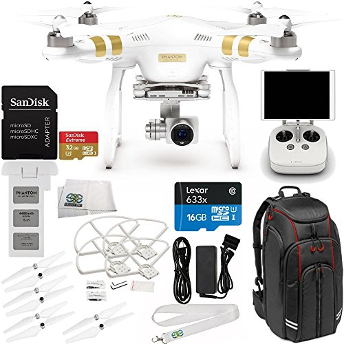 DJI Phantom 3 Professional Quadcopter w/ 4K Camera, 3-Axis Gimbal & Manufacturer Accessories + DJI Propeller Set + Manfrotto MB BP-D1 DJI Professional Video Equipment Cases Drone Backpack + MORE