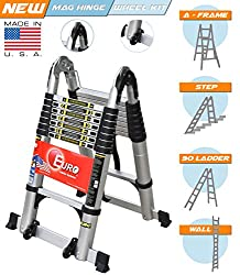 Euro Double Telescopic Aluminium ladder 5 meter (17 feet) - Stores at 3 feet - Made in USA