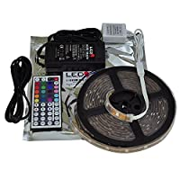 LEDwholesalers RGB Color Changing Kit with 44-Button Controller, Power Supply, and IP66 Waterproof 16.4-Feet Flexible LED Strip, 2038RGB+3315+3228