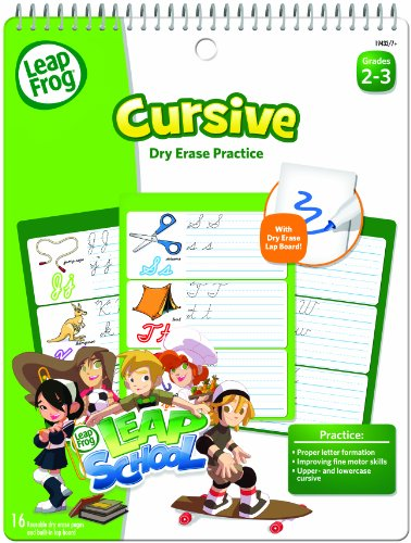 LeapFrog LeapSchool Cursive Dry Erase Practice Workbook for Grades 2-3 with 16 Flexible Pages - 1