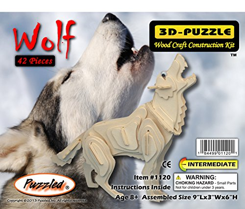 Puzzled Grey Wolf 3D Woodcraft Construction Kit