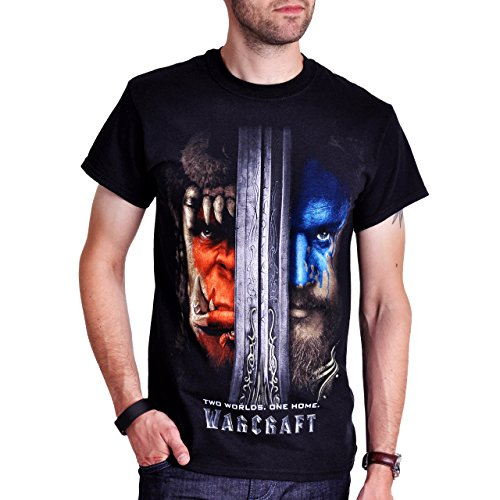 Warcraft - T-Shirt Poster motivo Two Worlds One Home - Nero - M
