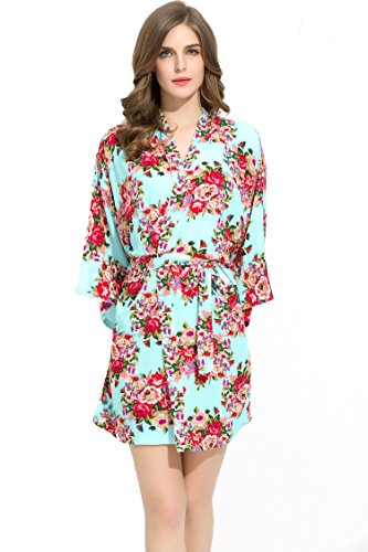 Bridesmaids Robes Floral Wedding Bride by Endless Envy (Mint)