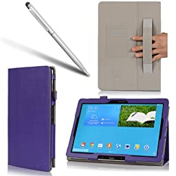 i-BLASON Samsung Galaxy Note Pro 12.2 Case & Galaxy Tab Pro 12.2 Case - Leather Book (Elastic Hand Strap, Multi-Angle, Card Holder) for SM-P900 With Bonus Stylus 3 Year Warranty (Purple)